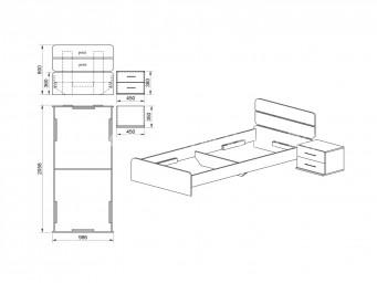 Легло СИТИ 2013 за матрак 90/200 с нощно шкафче