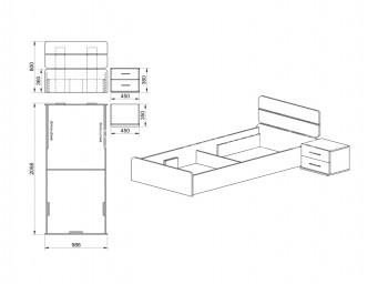 Легло СИТИ 2014 за матрак 90/200 с нощно шкафче