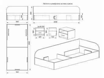Легло СИТИ 2024 за матрак 90/200 с нощно шкафче