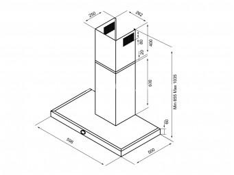 LINO H 60PB BK/X Черен стъклен панел/Инокс