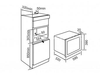 Микровълнова фурна за вграждане Eurolux MBGEPR 20E BK Черно стъкло