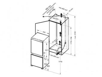 Хладилник с фризер за вграждане Eurolux RBE 27M60 V Бял