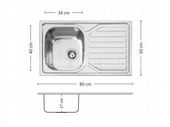 Иноксова мивка LEKS PRIME 80 DB 17OKP X P