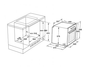 фурна за вграждане LINO FL2 F5PG BK Черно стъкло