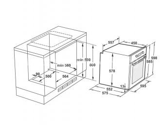 фурна за вграждане LINO FL1 F5PDS XS Черно стъкло / Инокс