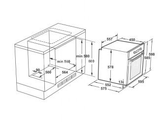 фурна за вграждане LINO FL1 F5MDS XS Инокс / Черно стъкло
