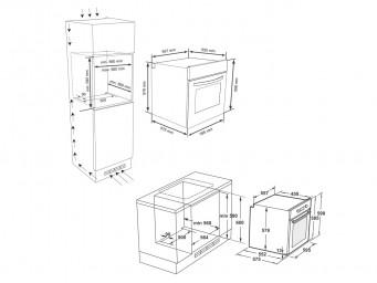 фурна за вграждане Eurolux EO3 F8PTMS XS Инокс / Черно стъкло