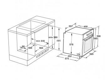 фурна за вграждане LINO FL3 F5PTG WH Бяло стъкло