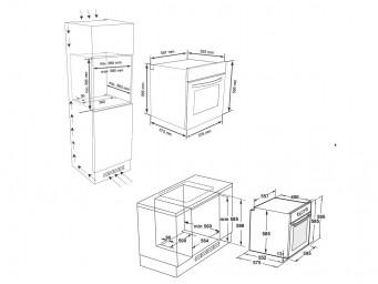 фурна за вграждане Eurolux EO5 F8PTMS XS Инокс / Черно стъкло