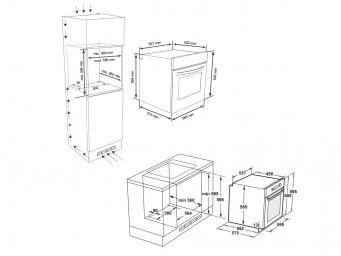 фурна за вграждане Eurolux EO5 F8PTG WH Бяло стъкло