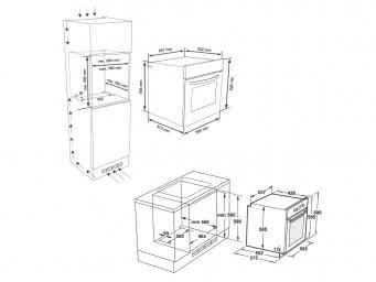 фурна за вграждане Eurolux EO4 F8PTMS XS Инокс / Черно стъкло