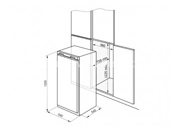 Хладилник с камера за вграждане Eurolux RBE 2012 V Бял