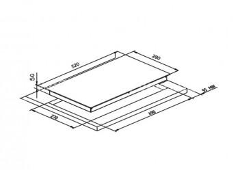Стъклокерамичен плот LINO PVL TC2 V W Бяло стъкло