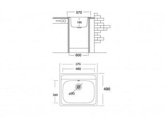 Иноксова мивка LEKS COMPACT 480 SI