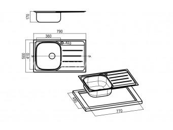 Иноксова мивка LEKS COMPACT 79.1 SI