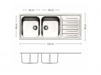 Иноксова мивка LEKS MELODIA 116.2 TI