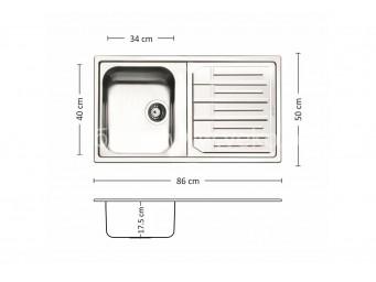 Иноксова мивка LEKS MELODIA 86.1 TI