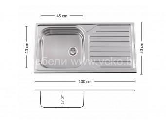 Иноксова мивка LEKS POWER BB 100.1 SI