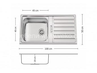 Иноксова мивка LEKS  TITAN BB 100.1 TI