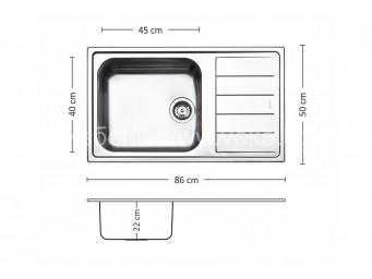 Иноксова мивка LEKS VENICE BB 86.1 TI 22