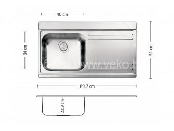 Иноксова мивка LEKS VERSO 90.1 R/L TI